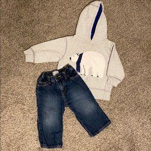 Gymboree Polar Bear Hoodie & Bootcut Jeans 12-24M